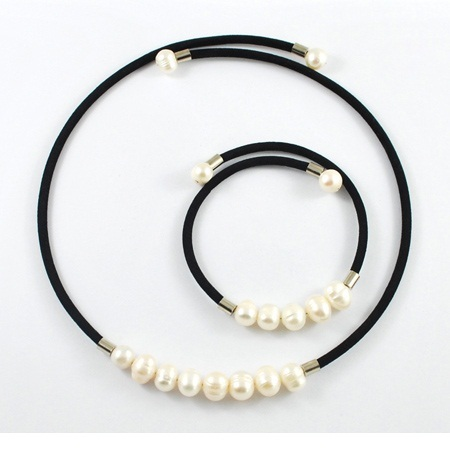 Wholesale Necklace & Bracelet Set Velvet Choker with Freshwater Pearl