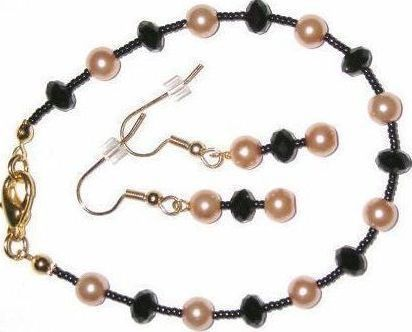 NEW Black Crystal Gold Glass Pearl Bracelet Earrings