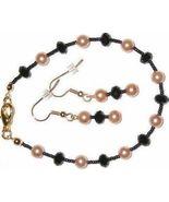 NEW Black Crystal Gold Glass Pearl Bracelet Ear... - $6.99