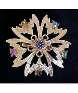 Vintage Multi-color Rhinestone Pin Brooch - $7.50