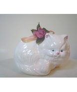Persian Cat Figurine Roc White With Roses Vintage - $5.00