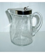 Heisey Etched Glass Syrup Pitcher / Pat. April ... - $65.00