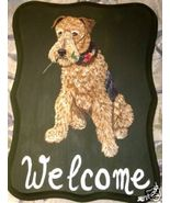 Airedale Terrier Dog Custom Painted Welcome Sig... - $31.95