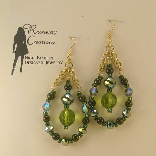 Elegant & Unique Olivine Green Mix Glass Teardrop Earrings