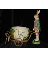 Fitz & Floyd - Old World (Male) Rabbit w/Cart Cachepot