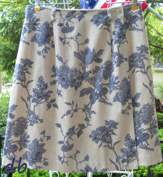 TALBOTS blue TOILE BOTANICAL linen wrap SKIRT short MEDIUM petites 8 or 10 rare