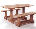 Buy Furniture - New Western Red Cedar 3 Pc Oval Table Set Patio Furniture