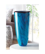 Blue Wave Art Glass Flower Vase Centerpiece - $77.00