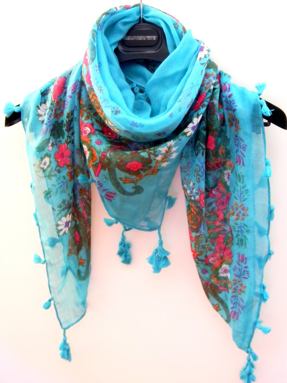 Fashion Blue Square Scarf  Shawl Wrap Decorative With Tassels US Canada FreeShip