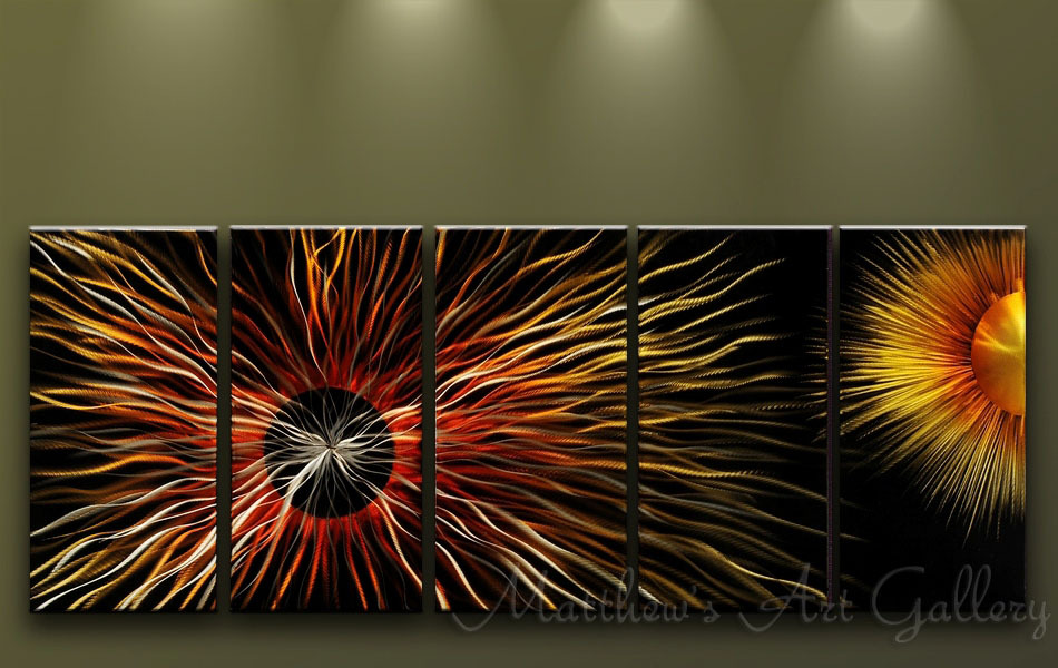 Metal Wall Art Abstract Contemporary Modern Home Decor Handmade HUGE Sun Eclipse