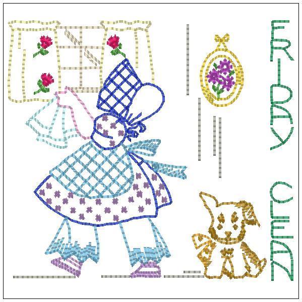 Christmas Sunbonnet Sue - Vintage Redwork - Machine Embroidery