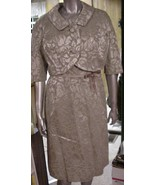 Vintage 1950's Green Brocade Dress w/ Bolero To... - $64.35
