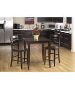 3 Pc SET Espresso Wood Bar Bistro Square Pub Ta... - $339.99