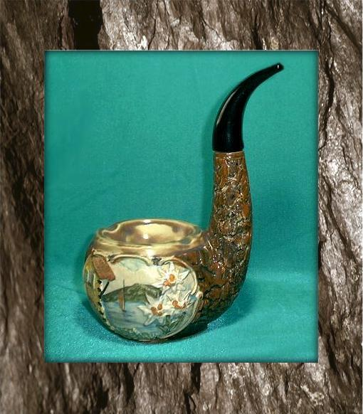 Buy ceramic cigar pipe - Vintage ceramic figural Wine Decanter Briar Pipe Ashtray Edelweiss Made in Italy