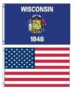 2 Pack Wisconsin & USA Flags 2 x 3 Ft  Boat Pon... - $12.82