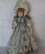 Porcelain Collectors Doll Blond Curly hair Flor... - $30.00