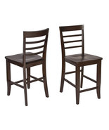 Set of 2 Espresso Finish Wood Bar Height Bistro... - $164.99