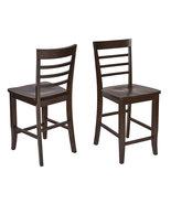 Set of 2 Espresso Finish Wood Bar Height Bistro... - $164.99