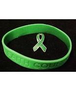 Green Ribbon Pin Silicone Bracelet Set Kidney C... - $10.67
