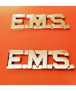 EMS Collar Pin Set Nickel Cut Out Letters Emerg... - $12.57