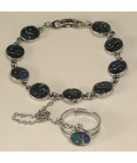 Casual Silver Tone Metal & Imitation Blue Abalo... - $13.50