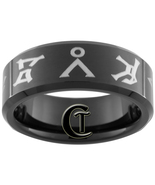 8mm Black Tungsten Carbide Band Beveled Stargat... - $49.00