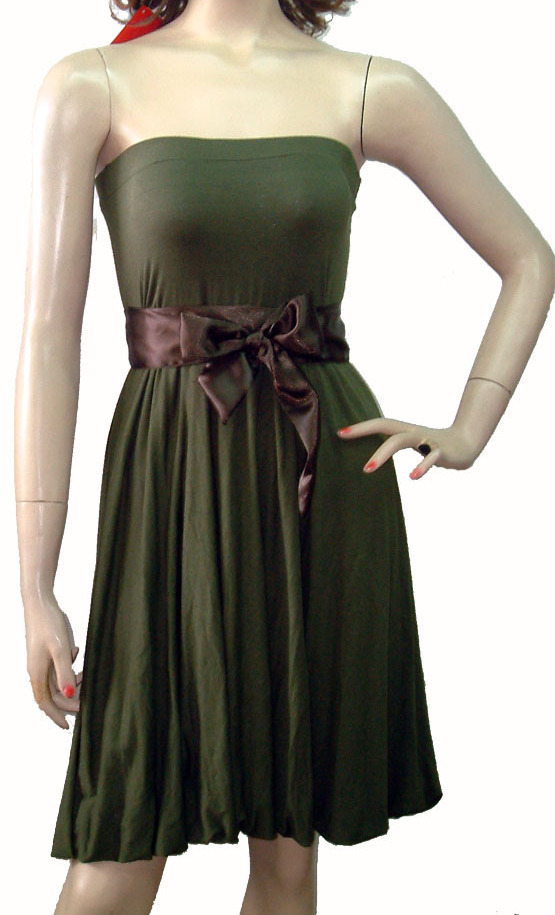 Sexy Dress Tube Top Sash Olive Satin Prom Dresses Gypsy