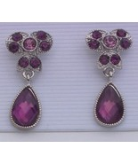 Purple Dangle Rhinestone Silvertone Earrings Clip - $7.00