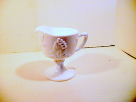 Milk Glass Vintage Open Creamer Pedestal Indian... - $21.92