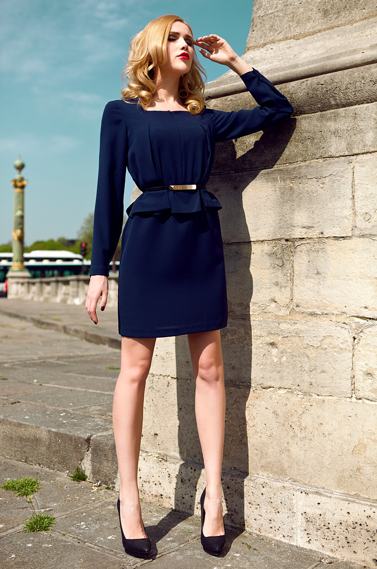 Long sleeves formal lady's dress - navy blue S-L