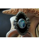 Opal and Marcasite Ring Sterling Silver Onyx 8.... - $60.00