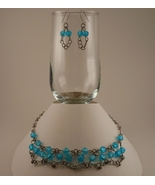 Formed Wire Necklace and Earrings Set with Silv... - $40.00