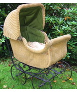 Antique Signed Whitney Wicker Baby Buggy Pram B... - $509.60