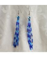 Long Beaded Dangle Earrings with Alternating Bl... - $17.00