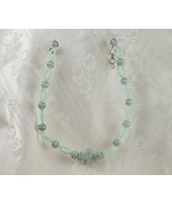 Green Cat's Eyes and Pearlescent Bead Necklace - $20.00