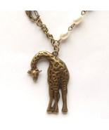 Antiqued Brass Giraffe Fresh Water Pearl Necklace - $14.99