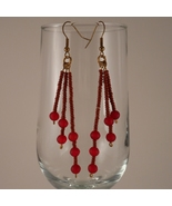 Brass Wire Earrings with Round Red Frosted Beads - $17.00