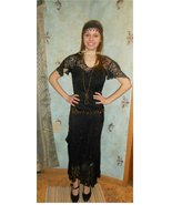 20s Edwardian ensemble black lace dress slip he... - $78.00