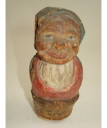 hand carved wooden old woman- possible Anri - $80.00