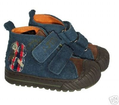 Oilily Linea Vintage Toddler Boys Blue Suede Shoes EUR 20 US 4 NEW Boutique
