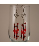 Formed Wire Earrings with Red, Black and Sterli... - $17.00