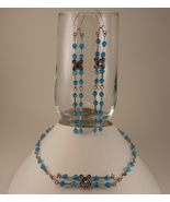 Blue Swarovski Crystal Sterling Silver on Forme... - $40.00