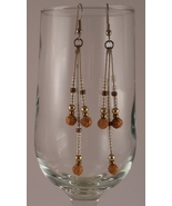Antiqued Gold and Rose Long Dangle Earrings - $18.00