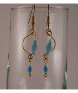 Gold Tone Wire and Baby Blue Bead Earrings - $17.00