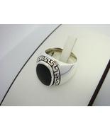 Sterling Silver Men's Oval Onyx Greek Key Ring - $38.00