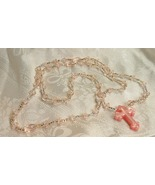 Peach And Clear Faceted Beads Cross Necklace - $25.00