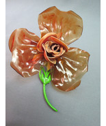 VTG Lucite Flower Brooch Metal Enamel Stem Cara... - $22.99