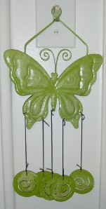 GREEN Metal WIND CHIME WINDCHIME Garden BUTTERFLY