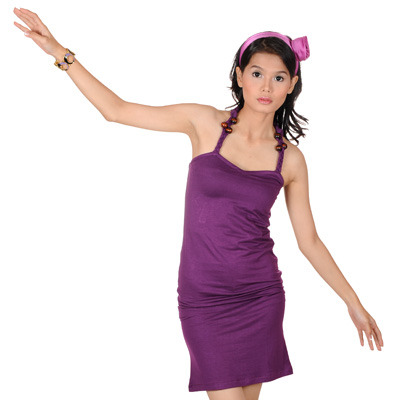 Sophistix - Deena Purple Halter Neck Knit Dress : Sizes S M L XL