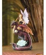 Fairy Maiden on a Dragon Lamp Statue - $14.00